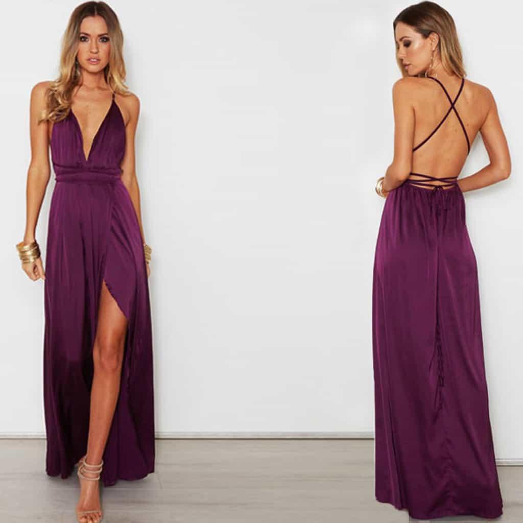 df945eee4ce7 Dlhé elegantné šaty s výstrihom