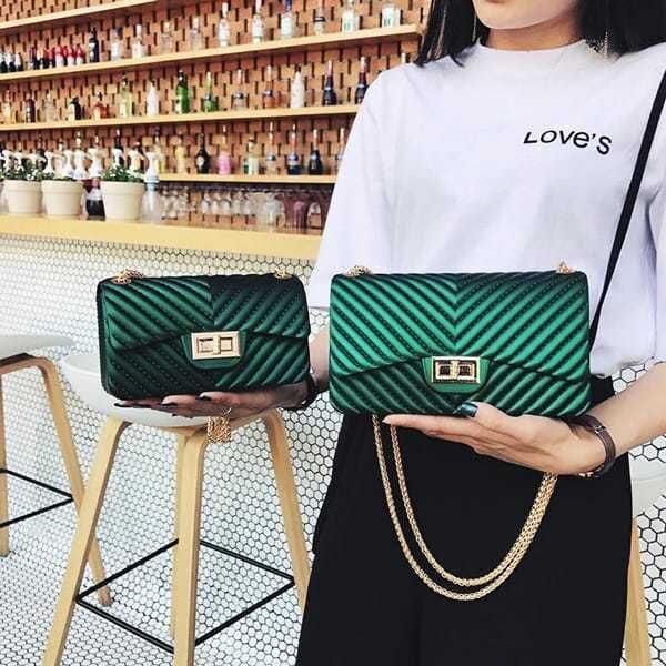 luxusna vecerna damska kabelka zelena