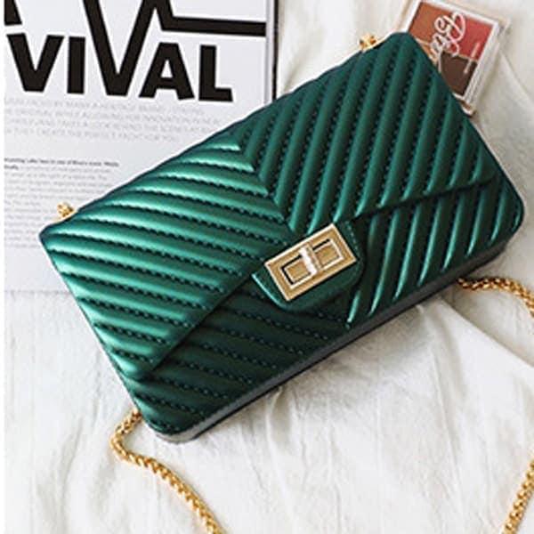 vecerna elegantna damska kabelka cez plece zelena