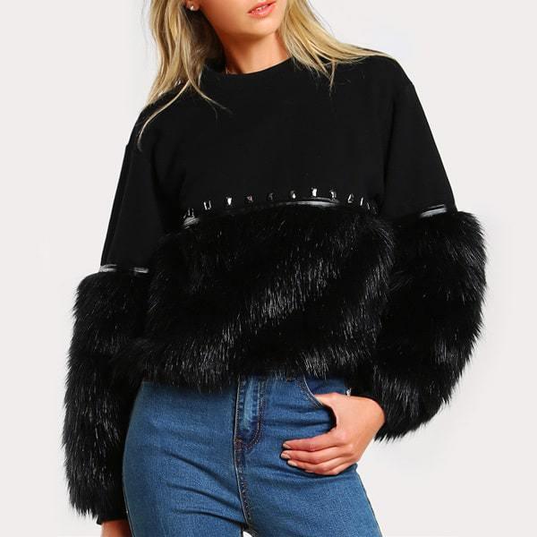 a4014923d5 Dámsky chlpatý čierny pulover 2018 | Happywoman.sk