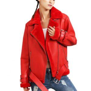 cervena damska kozena bunda