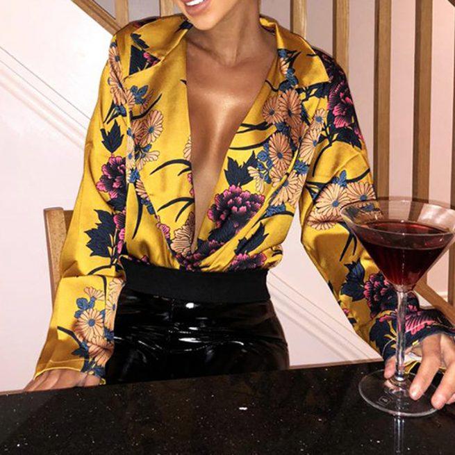 elegantna satenova bluzka - zlta