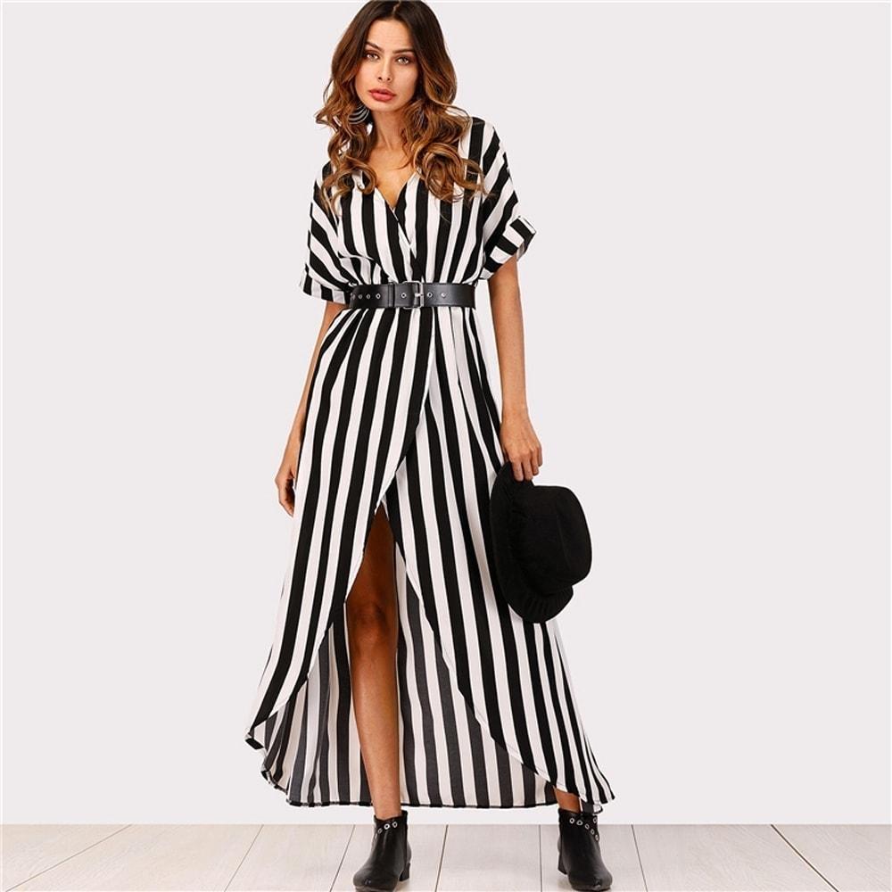547863cb8d6a Pásikavé dlhé šaty s opaskom