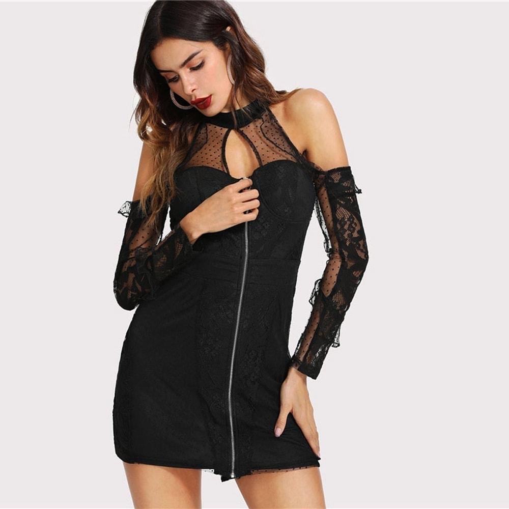 Sexi čierne krátke šaty s čipkou  805c350078a