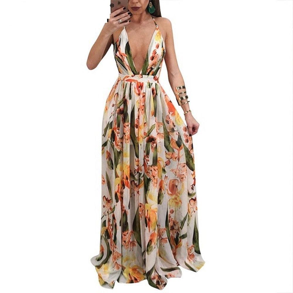 82dae98e10 Kvietkované letné šaty s výstrihom