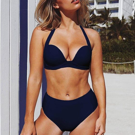 push up dvojdielne damske plavky modra