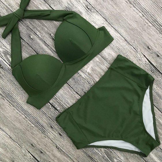 push up dvojdielne damske plavky zelena