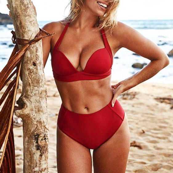 push up dvojdielne damske plavky cervena