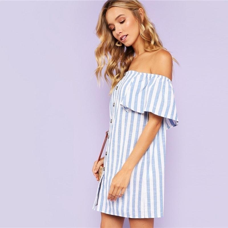 0dfda280eea3 Letné krátke šaty s odhalenými ramenami
