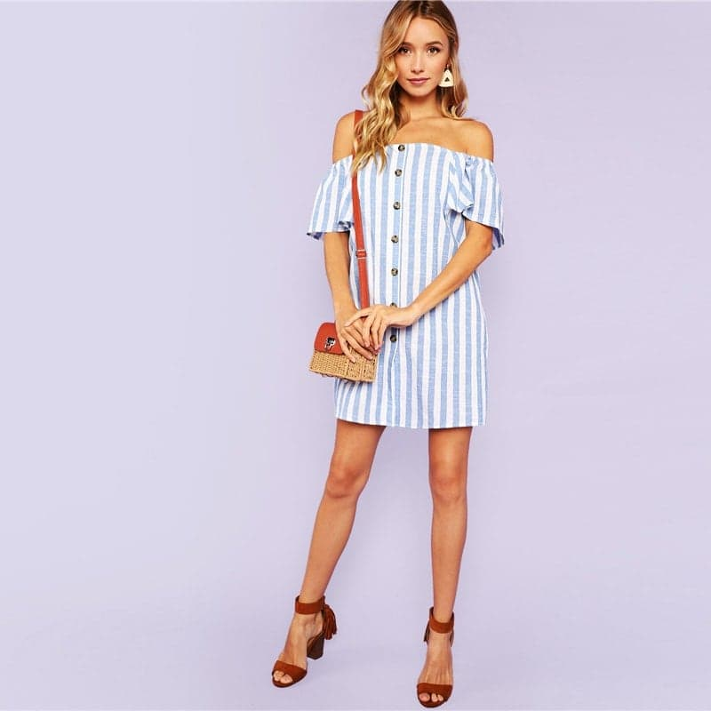 9c4fd8660 Letné krátke šaty s odhalenými ramenami| Happywoman.sk