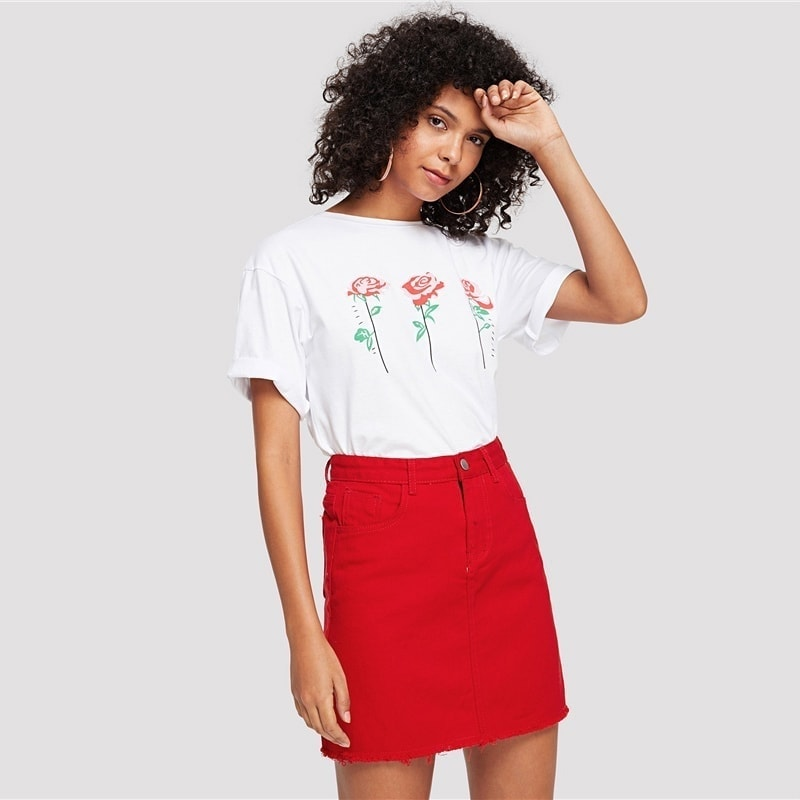 b8fa1c95162b Červená rifľová dámska sukňa