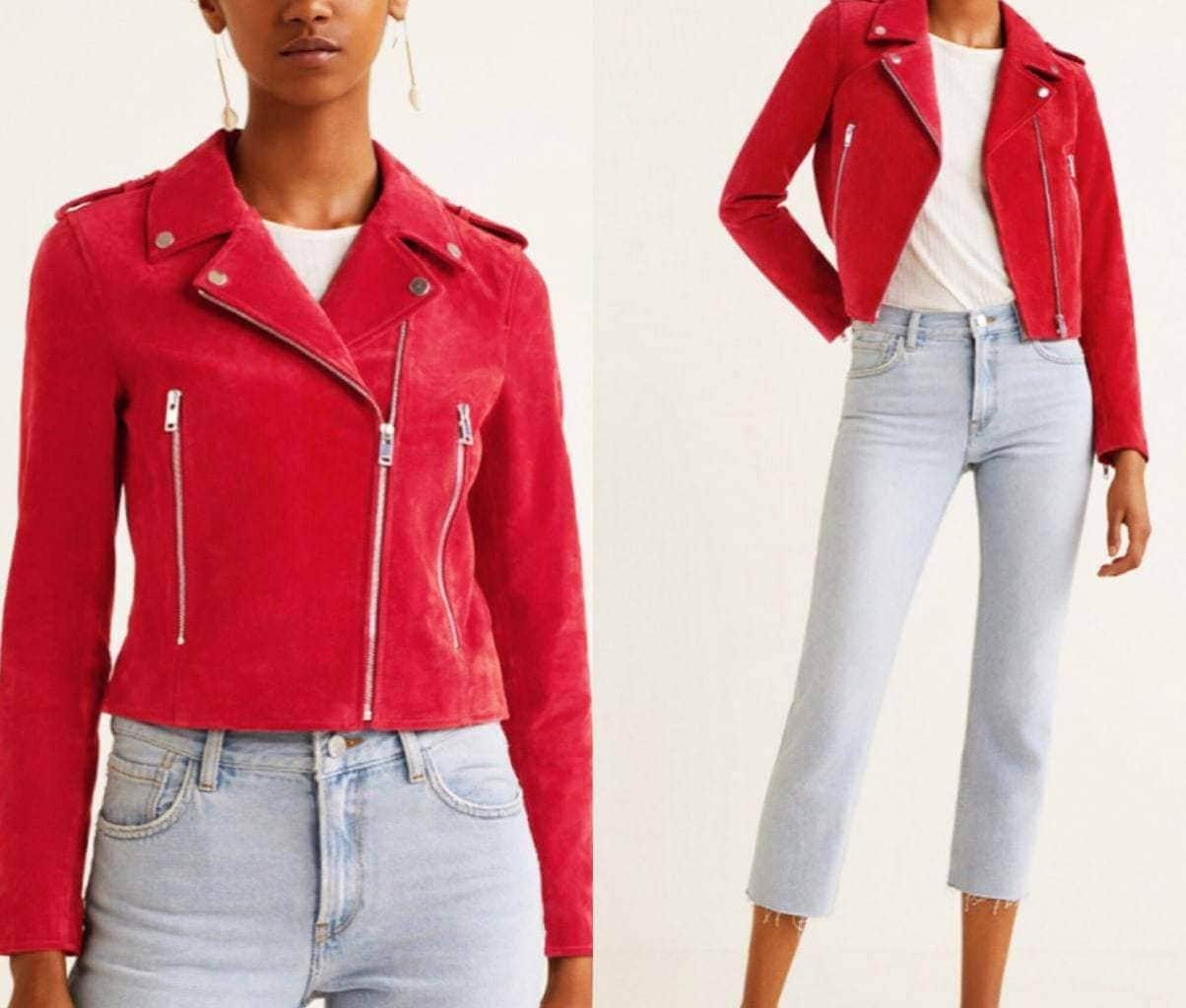 cervena kozena bunda