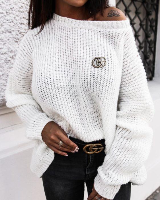 biely damsky oversize sveter