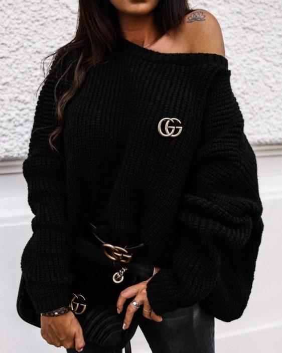 cierny damsky oversize sveter