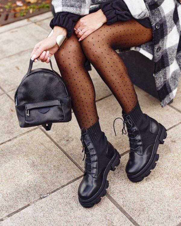 ponozkove cierne cizmy