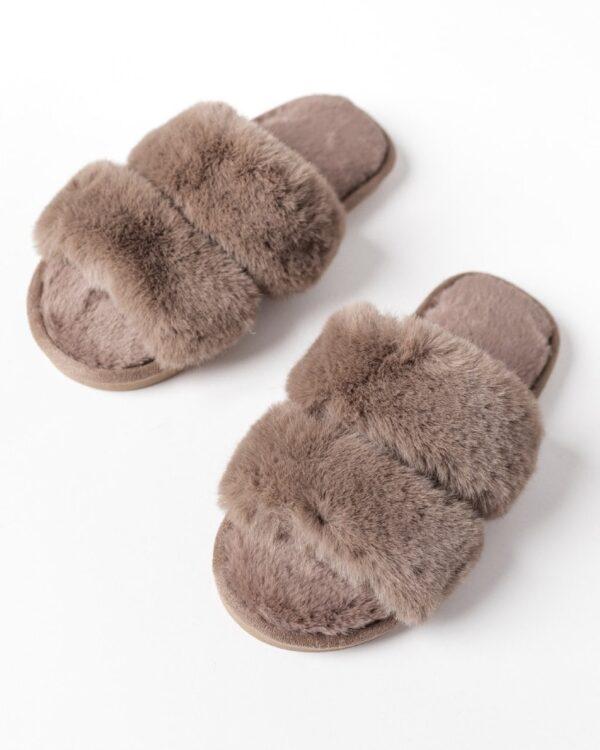 kozusinove papuce - hnede