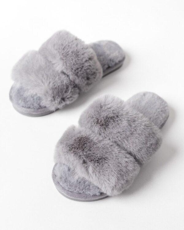 kozusinove papuce - sive