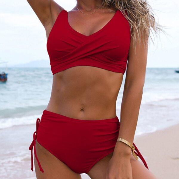 dvojdielne cervene plavky