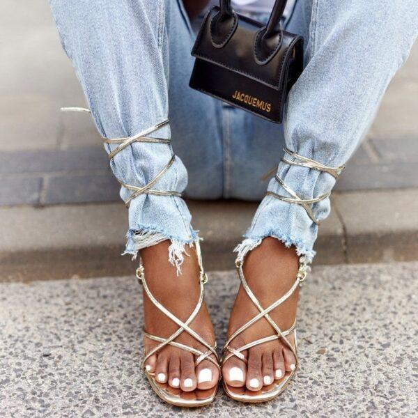 damske zlate sandale